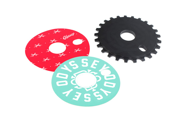 25t w// extra decals Black Odyssey Discogram BMX Sprocket Chainwheel
