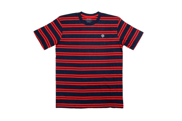 Odyssey Stitched Monogram Tee (Navy/Red Stripes)