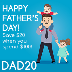We are celebrating Father's Day this June, and we want you to join us! Use code DAD20 to save $20 whenever you spend $100 or more.