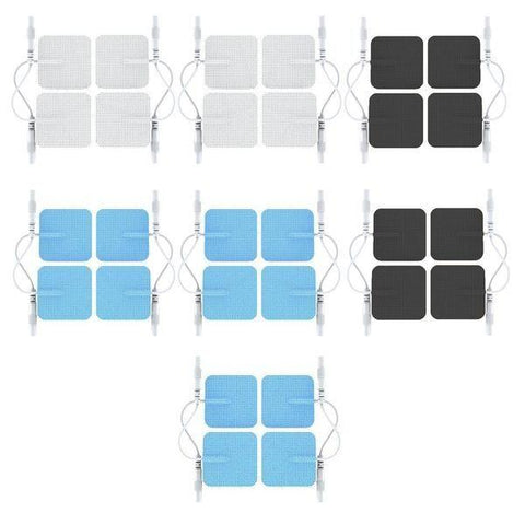 Multi-Color Pin-Inserted Square-Shaped Replacement Electrode Pads Combo
