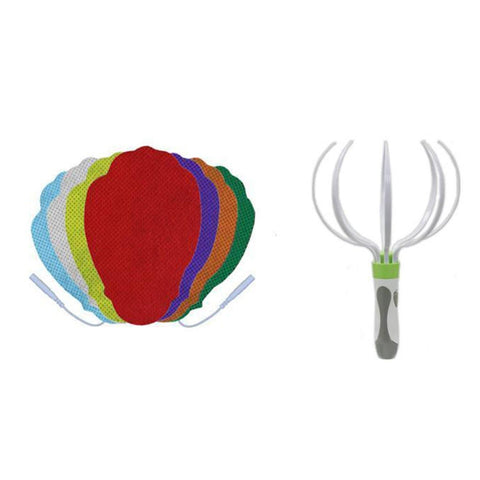 Multi-Color Pin-insert Hand-Shaped Replacement Electrode Pads Combo + Head Massager