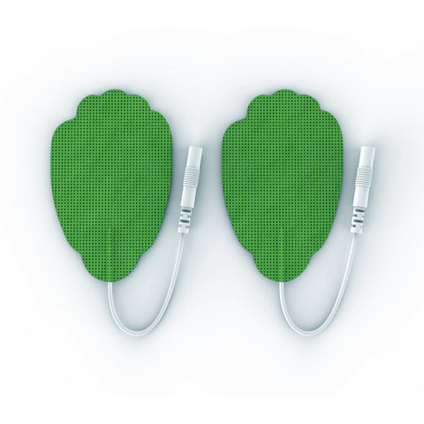 Pair of Pin-Inserted Green Large Hand-Shaped Pads for HealthmateForever TENS units Muscle Stimulators