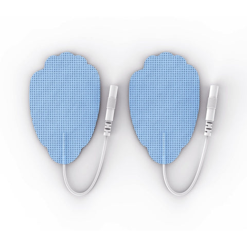 Pair of Pin-Inserted Blue Large Hand-Shaped Pads for HealthmateForever TENS units Muscle Stimulators
