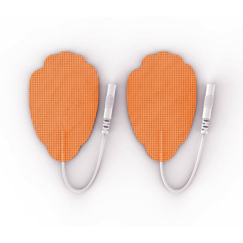 Pair of Pin-Inserted Orange Large Hand-Shaped Pads for HealthmateForever TENS units Muscle Stimulators