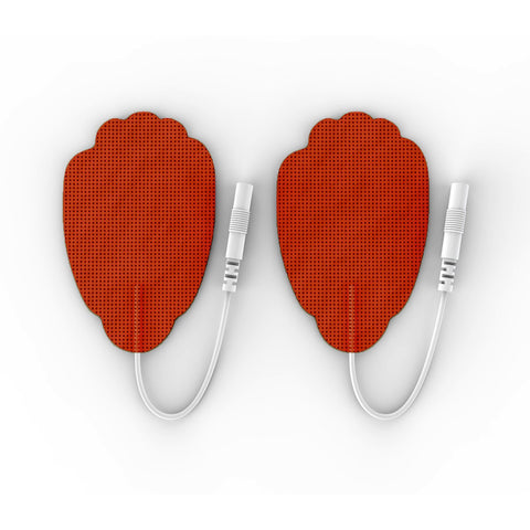 Pair of Pin-Inserted Red Large Hand-Shaped Pads for HealthmateForever TENS units Muscle Stimulators