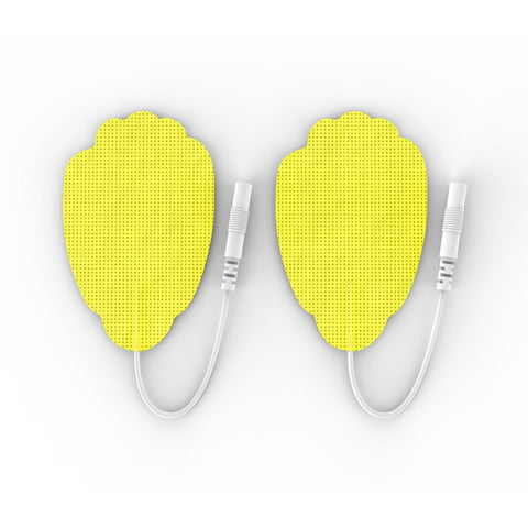 Pair of Pin-Inserted Yellow Large Hand-Shaped Pads for HealthmateForever TENS units Muscle Stimulators