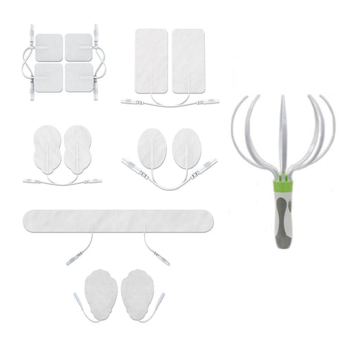 Assorted White Pin-Insert Repalcement Electrode Pads Combo + Head Massager