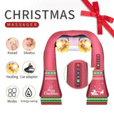 (with Gift Box) U Shape Electrical Shiatsu Back Neck Shoulder Body Massager Infrared Heated Kneading Car/Home Massagem