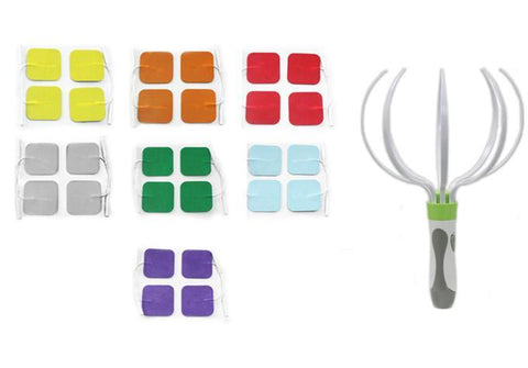Multi-Color Pin-insert Square-Shaped Pads Combo for TENS Unit + Head Massager | HealthmateForever