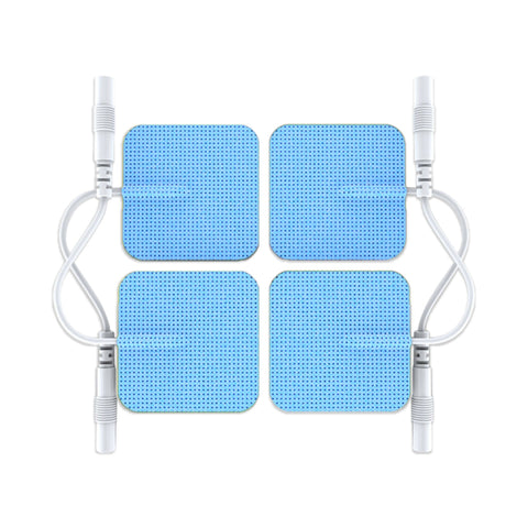 Pin-Inserted Blue Square-Shaped Pads for HealthmateForever TENS units Muscle Stimulators