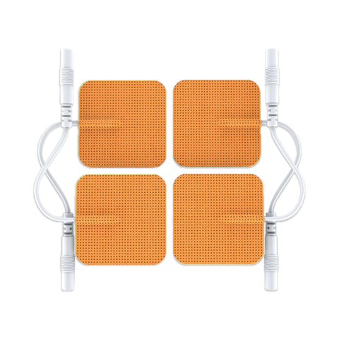 Pin-Inserted Orange Square-Shaped Pads for HealthmateForever TENS units Muscle Stimulators