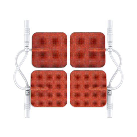 Pin-Inserted Red Square-Shaped Pads for HealthmateForever TENS units Muscle Stimulators