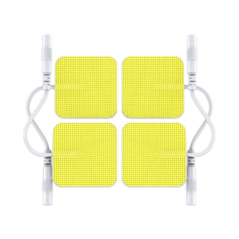 Pin-Inserted Yellow Square-Shaped Pads for HealthmateForever TENS units Muscle Stimulators