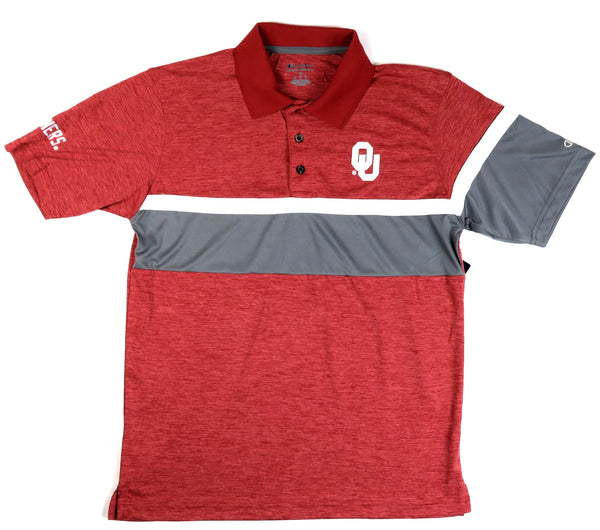 Oklahoma Sooners Men's Color Block Polo Shirt by Champion Short Sleeve