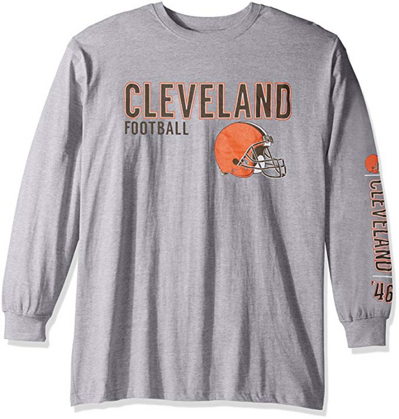 Cleveland Browns NFL Men's Big & Tall 2 Hits Long Sleeve Tee T-Shirt Shirt NEW