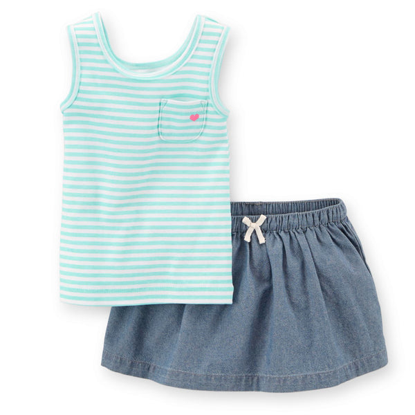 9M Infant Girl's Carter's 2-pc Turquoise Striped Tank Top & Chambray Skort Set