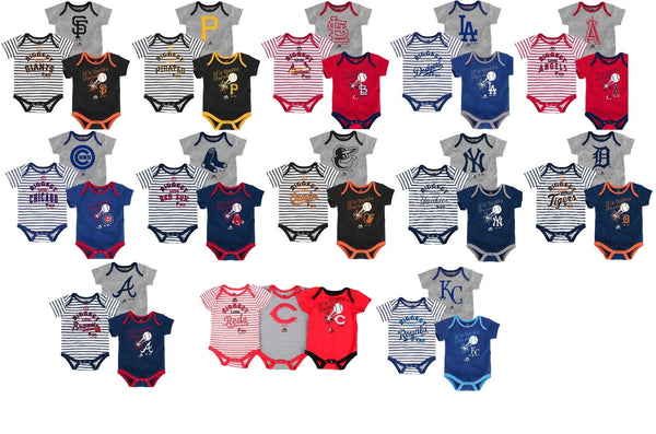 MLB Infant Boy's Biggest Little Fan Bodysuit Set of 3 Baby Baseball Creepers NEW
