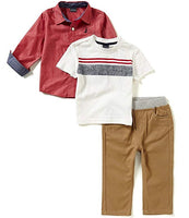 Infant & Toddler Boy's Nautica 3-Piece Pant Set with Woven Shirt, Tee, Pants NEW