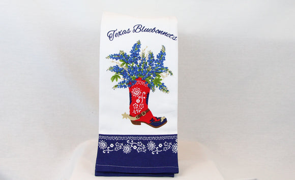 Texas Bluebonnet with Boot Tea Towel