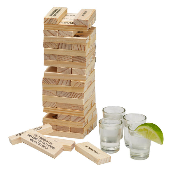 Tumbling Block Game with Shots Glasses