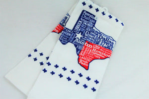 Texas Cities Tea Towel