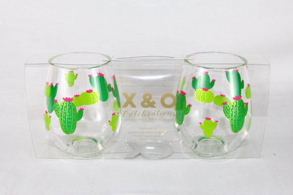 Acrylic Cactus Wine Glass Set of 2