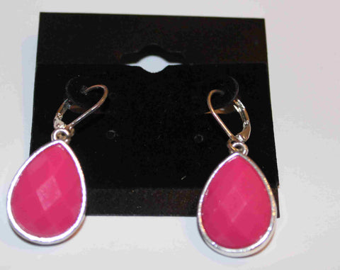 Hot Pink and Silvertone Earrings