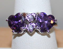 925 Silvertone Ring with Purple and Clear Crystals Size 7