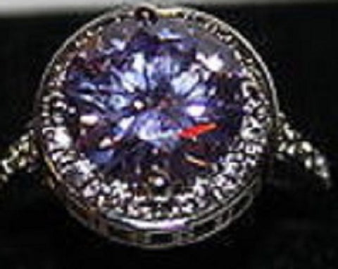 Silvertone Ring With Purple and Clear Crystals Size 8  W00347