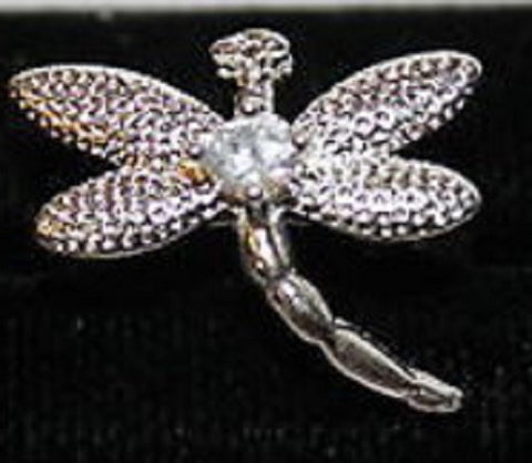 W00356 Silvertone Dragonfly Ring with Clear Crystal Size 5