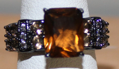 925 Silvertone Ring with Dark Brown Tan and Clear Crystals Size 7
