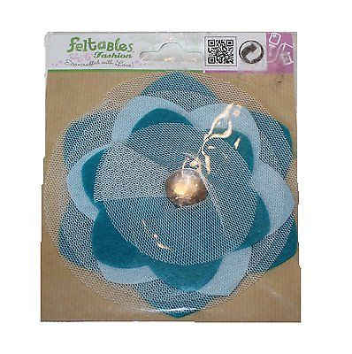 Feltables Fashion Turquoise Flower WithClear Jewel Center