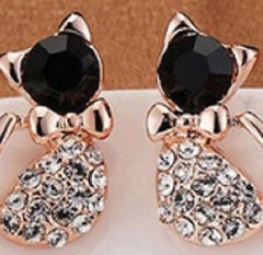 Elegant Crystal Rhinestone Kitty Earrings