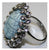 Ethel and Myrtle Simulated Turquoise and Crystal Bold Oval Ring Size 6 J149540