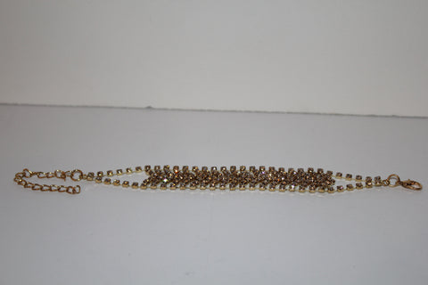 W00406  Goldtone Clear Crystal Special Occasion Bracelet  8.5 in
