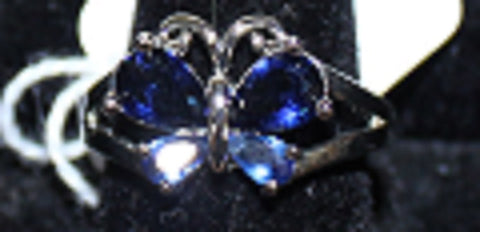 925 Silvertone Ring with Blue Butterfly Crystals Size 7