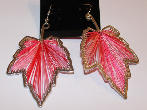 Gorgeous Silvertone & Pink Thread Earrings