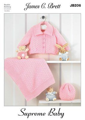 James C. Brett Supreme Baby Cardigan Slipover Hat and Scarf Patterns JB035