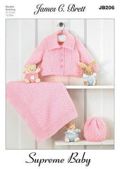 James C Brett Supreme Baby Jacket Hat and Blanket Patterns JB206