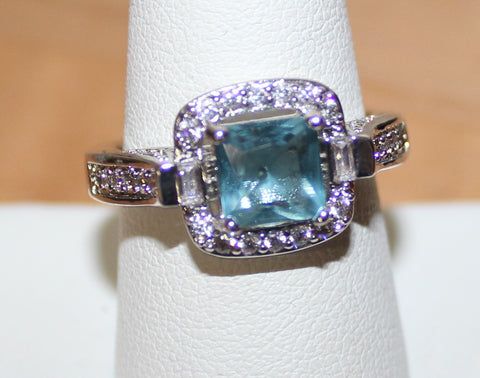 Silvertone Ring with Faux Crystals in Blue & Clear sz 9
