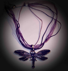 Purple & Silvertone Dragonfly Ribbon Necklace