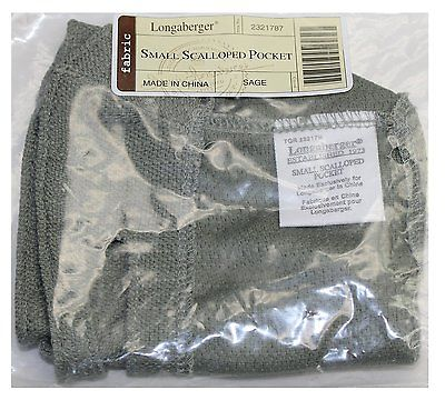 Longaberger Fabric Small Scalloped Pocket Liner  Sage