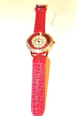 Gorgeous Pink Watch with Pink Faux Leather Bank