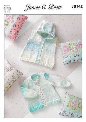 James C Brett Baby Marble DK Cardigan and Hooded Waistcoat Patterns JB142