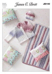 James C Brett Baby Marble DK Cardigan Blanket and Hat Patterns JB140