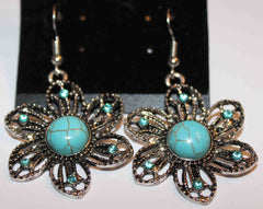 Faux Turquoise and Crystal Floral Pierced Earrings