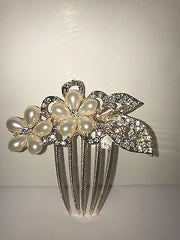 Goldtone Faux Pearl and Crystal Hair Comb