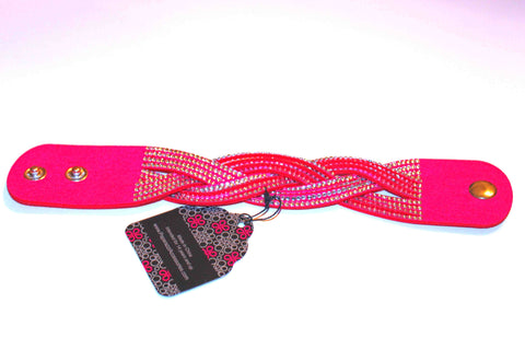 Sparkly Hot Pink Snap Bracelet with Rhinestones