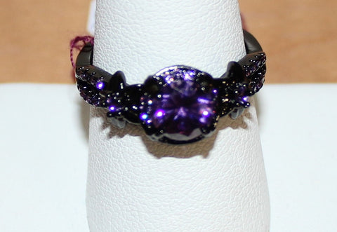 W00368 Black Band with Amethyst Faux Stones Size 9