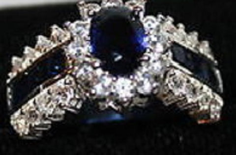 W00353 Silvertone Ring with Navy Blue and Clear Crystals Size 10